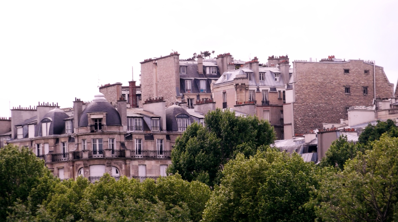 Above the rooftops of Paris.