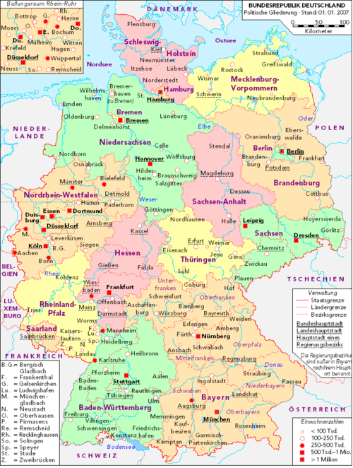 Germany and its 16 States (Bundesländer)
