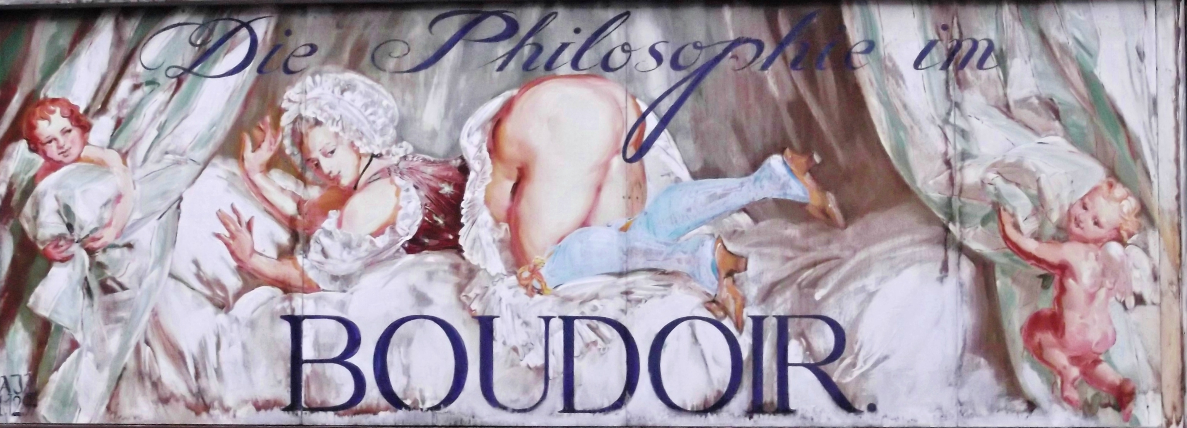 Die Philosophie im Boudoir  Philosophy in the Bedroom  based on the book by  Marquis de Sade   A shop sign in the Berg Alley  the street where Sigmund  Freud. Snippets of Vienna    KleesButterfly   A TravelBlog