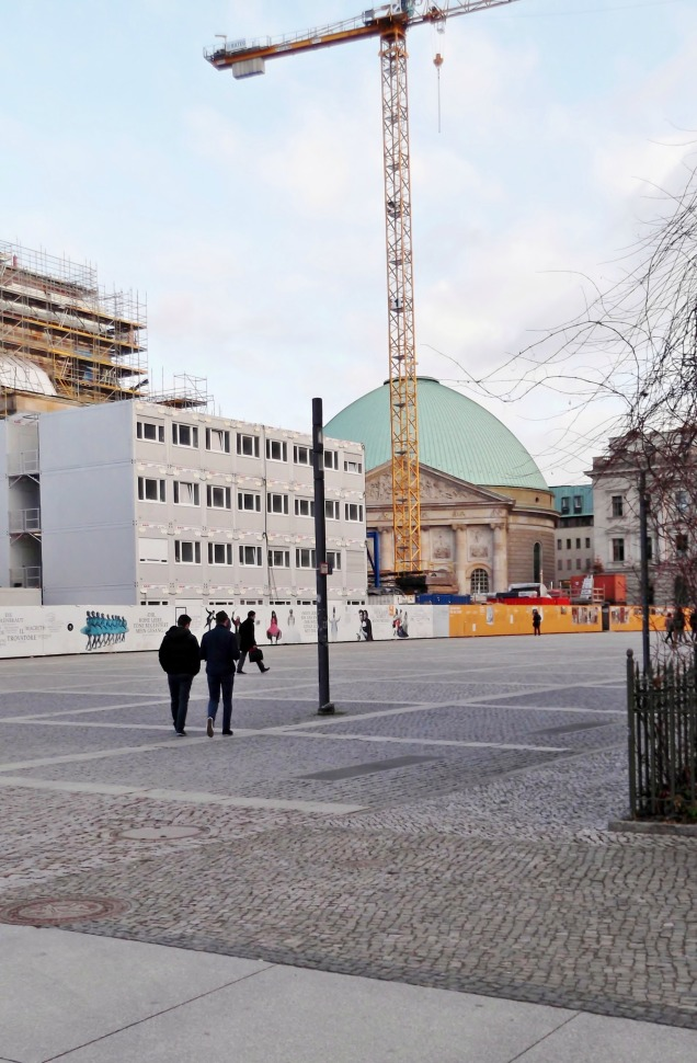 Bebelplatz with building site fence and St. Hedwig's Cathedral