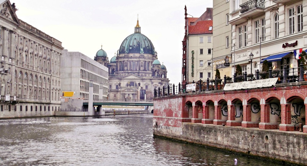 The New Stables Building, Humboldt Forum, Berlin Cathedral, and on the right the Nikolai Quarter