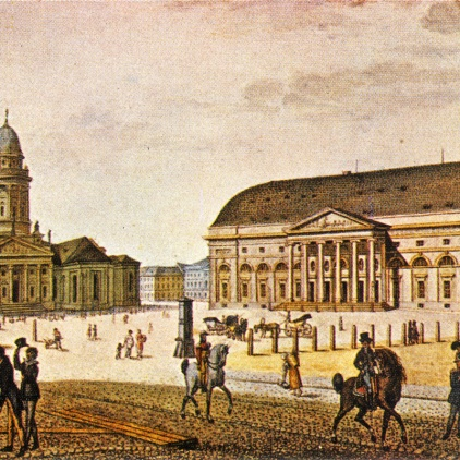 Gendarmenmarkt with the Nationaltheater, watercolor by F.A. Calau, a. 1815